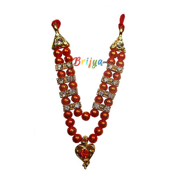 Orange Beads Stone Laddu Gopal Mala