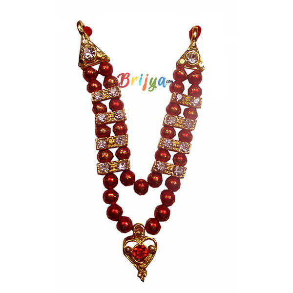 Red Beads Stone Laddu Gopal Mala