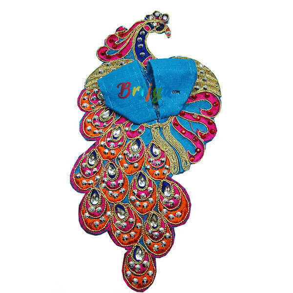 Sky Blue Silk Kundan Kalabattu Laddo Gopal Dress