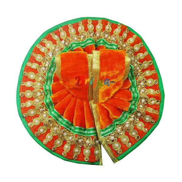 Laddu-Gopal-Poshak-Orange-Shaneel-Lace-Work-Dress