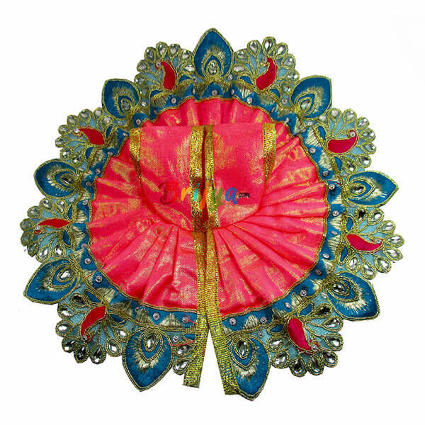 Beautiful-Pink-Simar-Kundan-Thread-Work-Bal-Krishna-Dress-Poshak