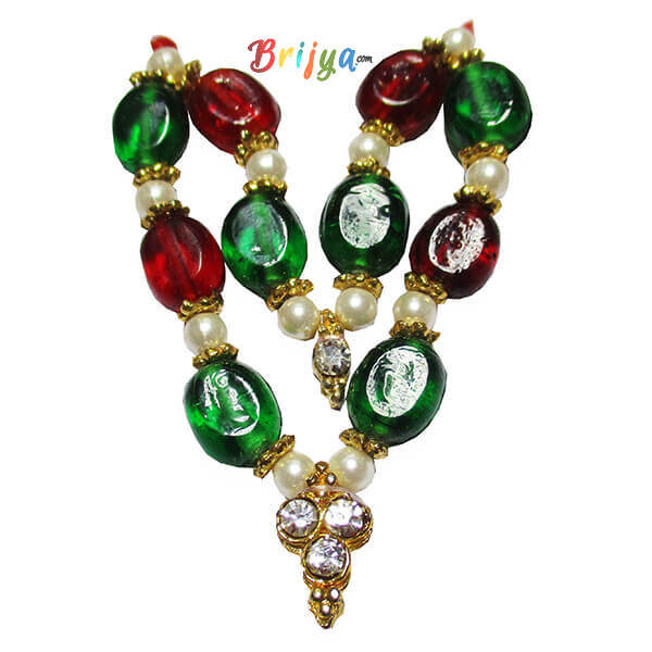 Red Green Stone White Pearl Laddu Gopal Mala