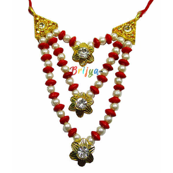Red-White-Pearl-Stone-Beads-Laddu-Gopal-Mala